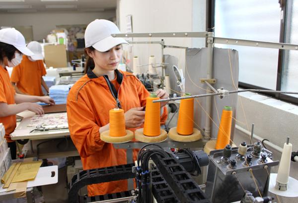 機械を使って作業する女性社員